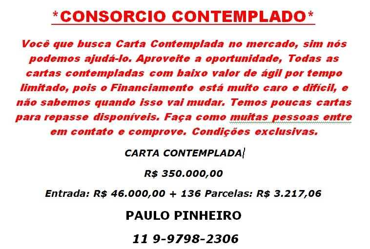 CONS�RCIO CONTEMPLADO
