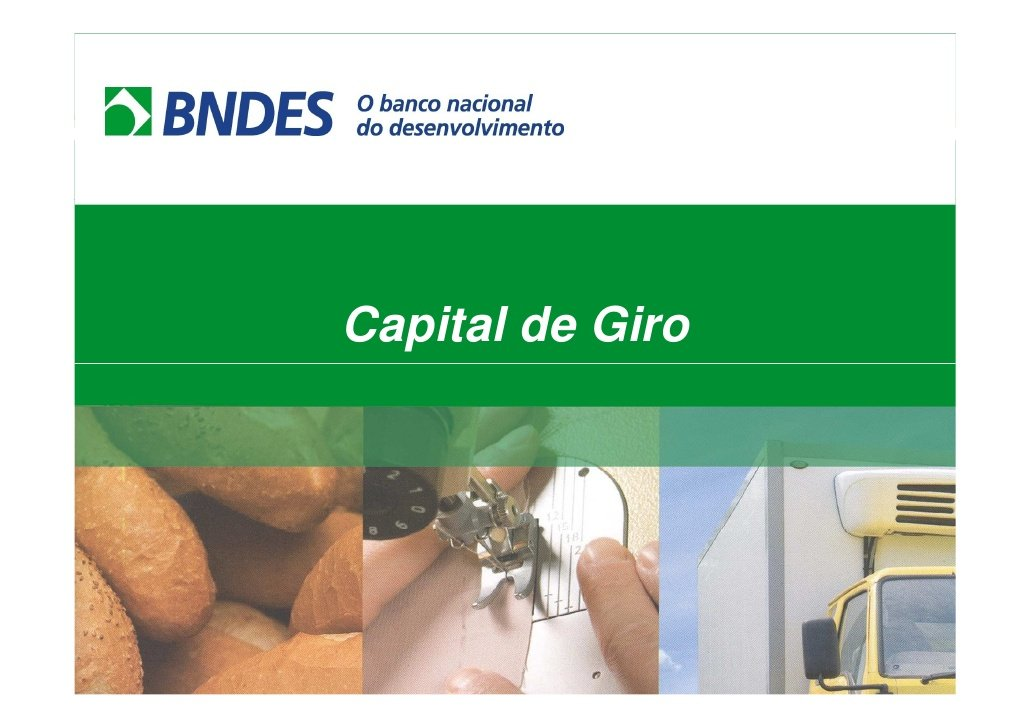 Venda de BNDES CAPITAL DE GIRO