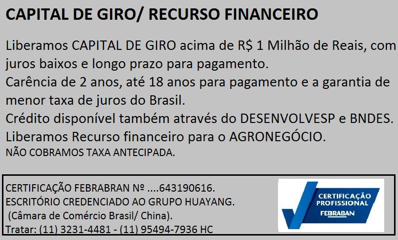 Venda de RECURSO FINANCEIRO